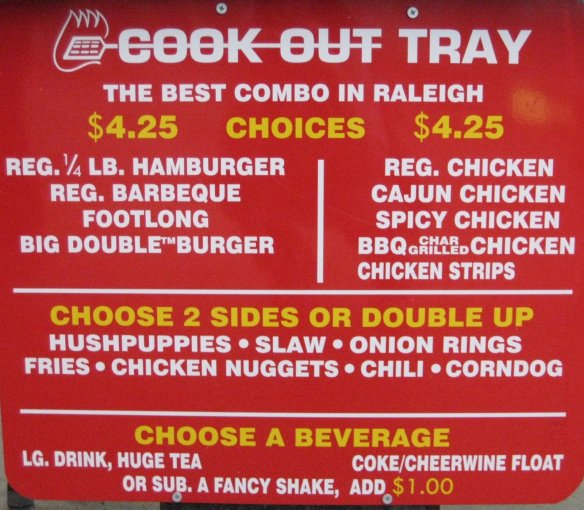 cookout restaurant, cook-out menu, cook-out restaurant menu