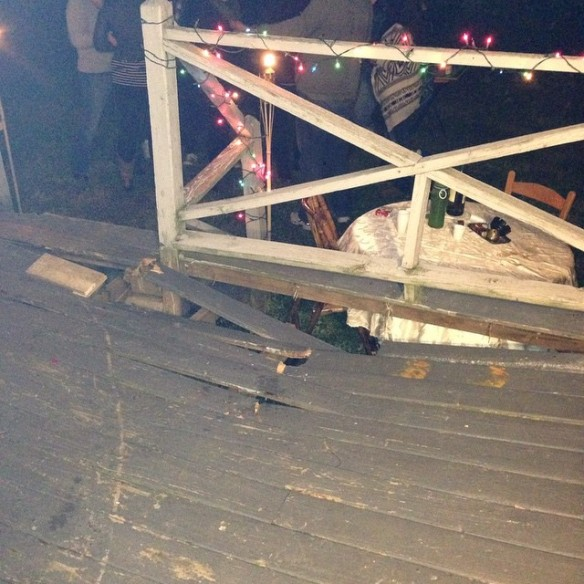 collapsed deck, deck caved in, structural damage, backyard party