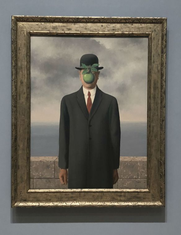 magritte famous painting, apple face painting, bowler hat painting