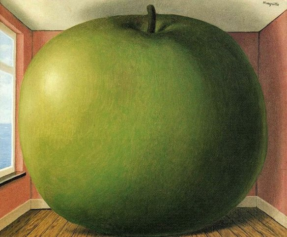 the listening room magritte, giant apple painting, surrealist paintings